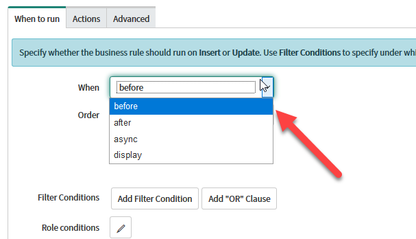 ServiceNow Business Rule Types
