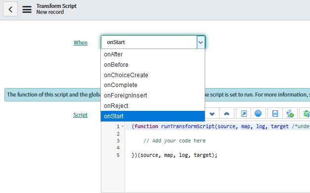 transform scripts - servicenow coding interview questions