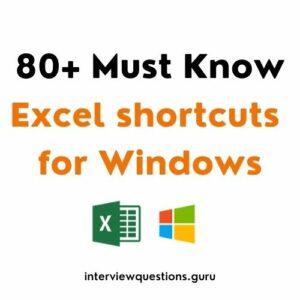 windows excel shortcuts